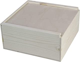 12x12x5 5/8 Inches Outside Dimensions, Wooden Box with Sliding lid