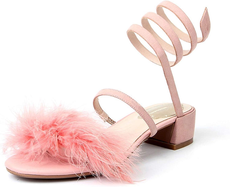 Summer Gladiator Women Furry Feather Sandals Slip On Snake Shape shoes Ladies Kid Suede Soft Footwear Female Pink