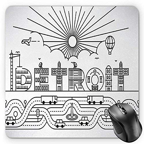Drempad Gaming Mauspads, Detroit Mouse Pad by, Detroit City Typography with Building Letters Transportation and Air Balloon, Standard Size Rectangle Non-Slip Rubber Mousepad, Black and White