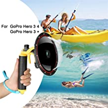 for GoPro Dome Port Hero 4 3 3+, Underwater Housing with Trigger Pistol and Floating Grip Photography Lens Hood Waterproof Case for GoPro Accessory (for GoPro Hero 4/3/3+)