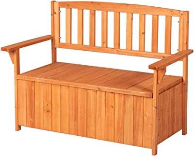 Amazon Com 50 Inch Wide Storage Bench Outdoor Loveseat