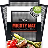 SIGVAL Mighty Mat - Reinforced Non-Stick Grill Mesh Mat - Set of 3 - Use as Smoker Mat, Baking Mat, and BBQ Mat to Cook Fish, Vegetables, Meats on Smoker or Grill