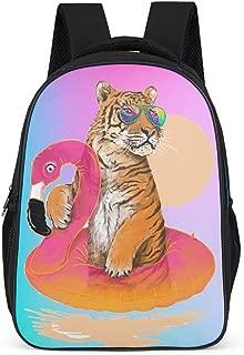 Dad of LP Frame Tiger&Flamingos Backpack Fashion Slim Durable Bookbag - Swimming Pattern Printing School Bag International Travel Use for Adult Grey OneSize