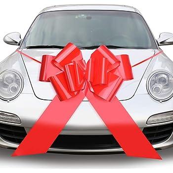 QUACOWW - Lazos grandes de 23 pulgadas para coche, color rojo, para decoración de regalos grandes, para coche, día de San Valentín, boda, fiesta: Amazon.es: Salud y cuidado personal