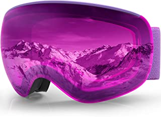 findway Ski Goggles, Snowboard Snow Goggles 2019 Updated Magnetic Quick Interchangeable Lenses Frameless Dual-Layer Lens, Anti-Fog OTG 100% UV Protection Helmet Compatible for Men Women