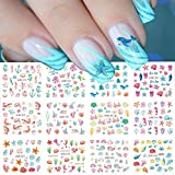 Nail Art Stickers Water Transfer Summer Nail Decals 12 Sheets Colorful Nail Art Supplies Sticker Ocean Dolphin Starfish Nail Art Stickers Popular Nail Stickers for Women Girls Nail Art Decorations