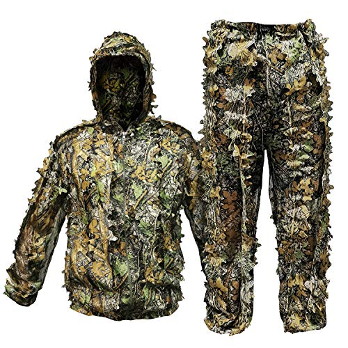 RUNPO Upgrade Ghillie Suit Outdoor 3D Lifelike Super Lightweight Hooded Camouflage Clothing Jungle Woodland Hunting Shooting (Fit Tall 4.9-5.9ft)