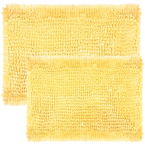 Sweet Home Collection Bath Set 2 Piece Butter Chenille Noodle Soft Luxurious Rugs Absorbent Non Slip Latex Back Microfiber Bathroom Mat, ((1) 17' x 24' & (1) 20' x 32' Yellow