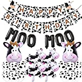 Cow Theme Party Decorations Kit, Happy Birthday Banner MOO MOO Balloon for Farm Cow Baby Shower Birthday Party Supplies