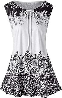 An Ping Women Plus Size Vest Fashion Printed Sleeveless O-Neck Loose Tank Tops Blouse Keyhole Strap T-Shirt