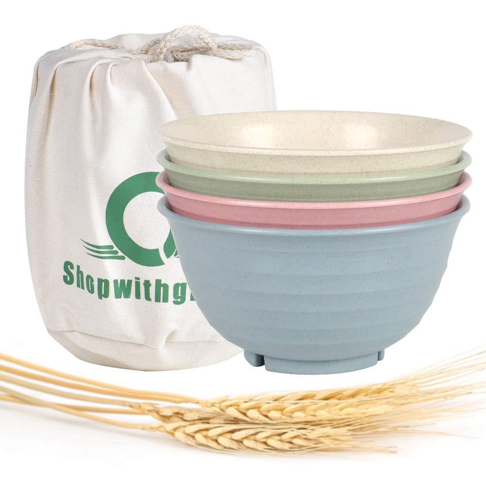 Lightweight /& Unbreakable Wheat Straw Bowl Eco Friendly Healthy Wheat Straw Noodle Fruit Soup Bowl Rice Bowls Dishwasher Microwave Safe Degradable Reusablel bowl set 4pcs