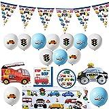 Transporte Vehículos Cumpleaños Decoración Decoración Suministros Set Coches y Camiones Tráfico Jam Transporte Tema Vajilla Banner Globos Kit para Niños