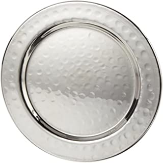 Elegance Hammered 4-Inch Stainless Steel Coasters For Drink, Lip & Tray to Contain