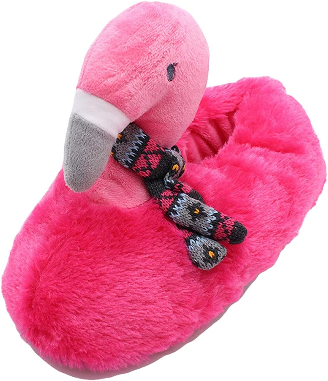York Zhu Womens House Slipper - Winter Flamingos Swing Feather Plush Slippers Pink