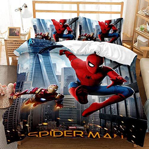 BLSM – Juego de cama animado Spiderman 2/3 piezas con funda nórdica para niños, 100% microfibra, para niños, niñas, adultos, dormitorio y apartamentos (E,135 x 200 cm)