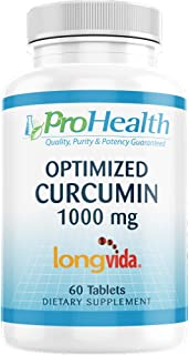 ProHealth Optimized Curcumin Longvida (1000 mg, 60 Tablets) 285x More Bioavailable | Joint Health | Memory and Cognition | Anti-Inflammatory | Antioxidant Supplement