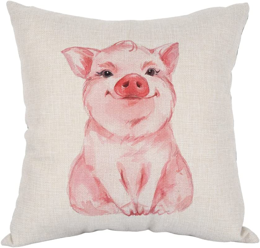 Moslion Pig Pillow Lovely Pink Linen Time sale It is very popular Cotton Watercolor Pillo