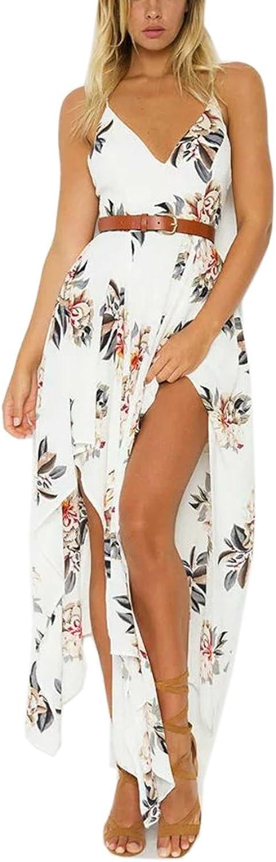 FFLMYUHULIU Women's Floral Print Back Cross V Neck Graceful Irregular Beach Sling Maxi Dress