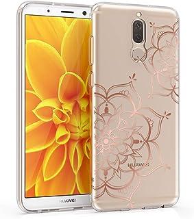 kwmobile telefoonhoesje compatibel met Huawei Mate 10 Lite - Hoesje voor smartphone in roségoud/transparant - Bloementweeling