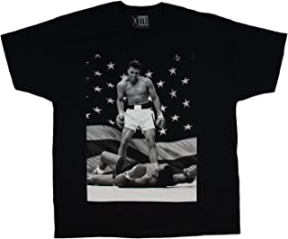 Muhammad Ali Black And White American Flag Knockout Graphic Design Men's T-Shirt