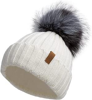Women Winter Knitted Beanie Hat with Fur Pom Bobble Hat Skull Beanie for Women