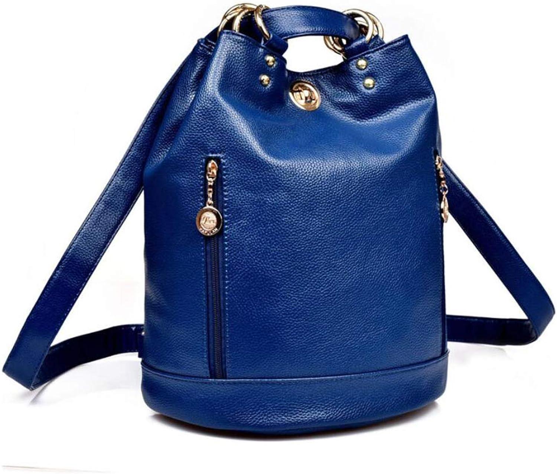 Ladies Bag PU Large Capacity, Leather Backpack Waterproof Ring Navy Western Bag Cute Popular Lightweight Waterproof Backpack Commuter Backpack Junior high School Girls Backpack,blueee