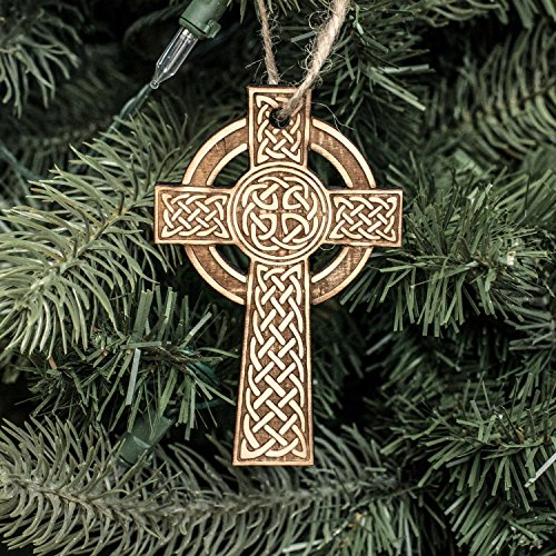Ornament - Celtic Cross - Raw Wood 2x4in