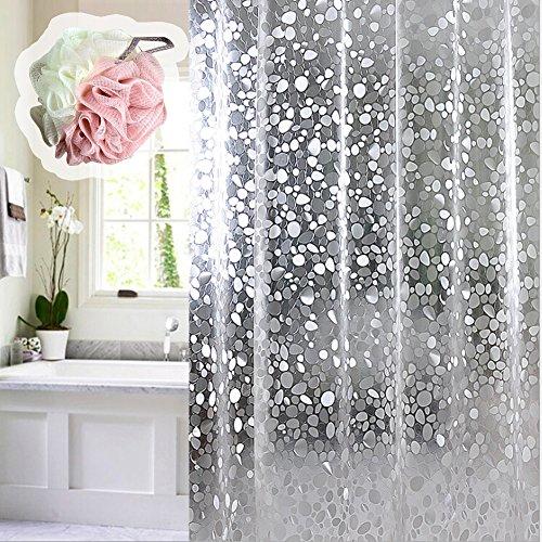 Echoice Duschvorhang Eva Wasserdicht Anti-Schimmel mit 12 Edelstahlhaken für Badezimmer, 180 x 180cm, Halb-Transparent