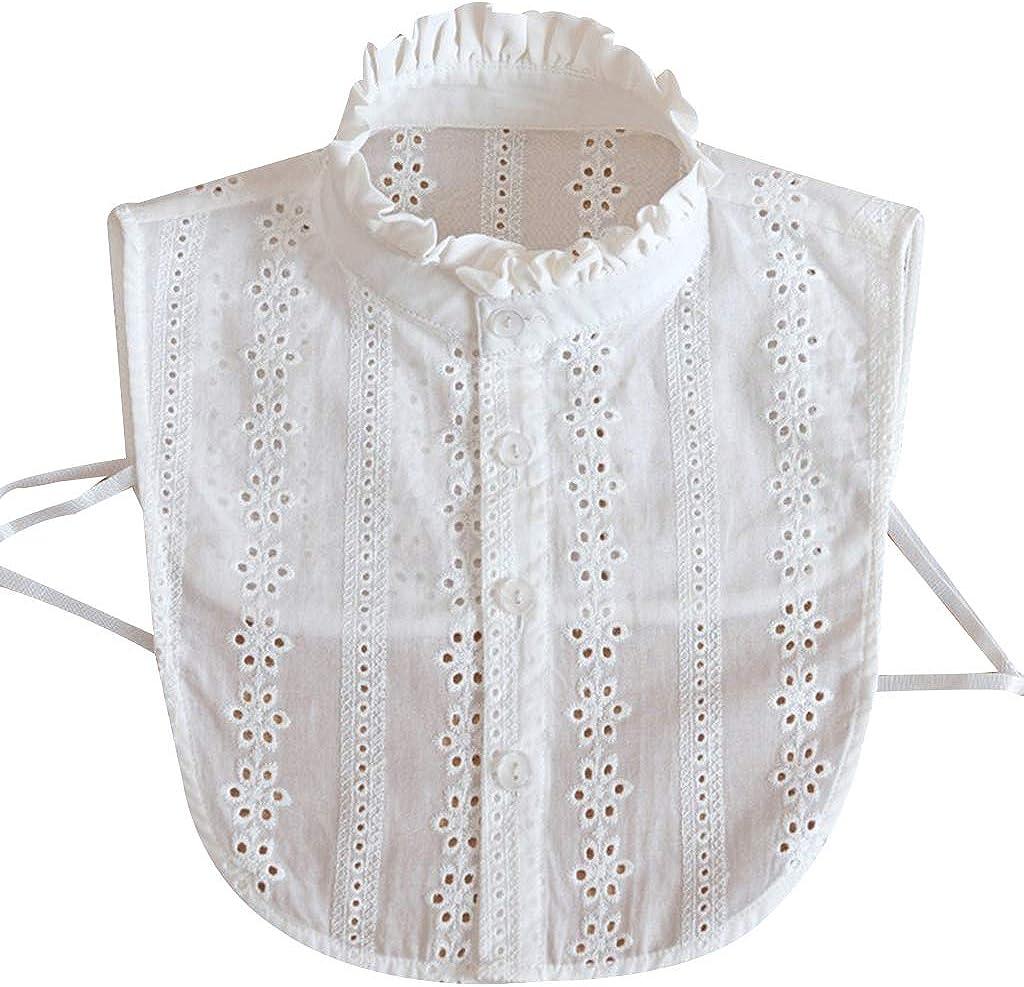 YOUSIKE Neck Chain, Women Lace Collar Pure Color Detachable Lapel Choker Necklace Shirt Fake False Collar Blouse Sweatshirt Vest Accessories