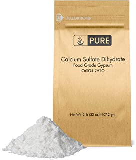 Calcium Sulfate (Gypsum) (2 lb.) by Pure Organic Ingredients, Eco-Friendly Packaging, for Multiple Uses Including Baking, ...