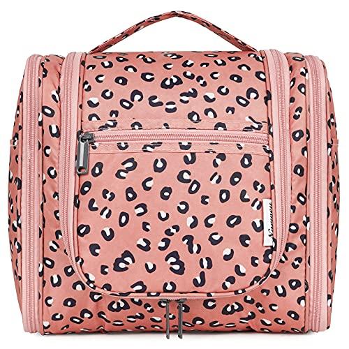 Bolsa de aseo colgante de viaje, organizador cosmético de maquillaje, para mujeres, niñas y niños, Leopardo (grande),