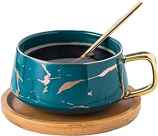 YBK Tech Porcelain Tea Cup Coffee Mug Set for Afternoon Tea - Marble Pattern (Blue, Short 300ml + Wood Saucer)