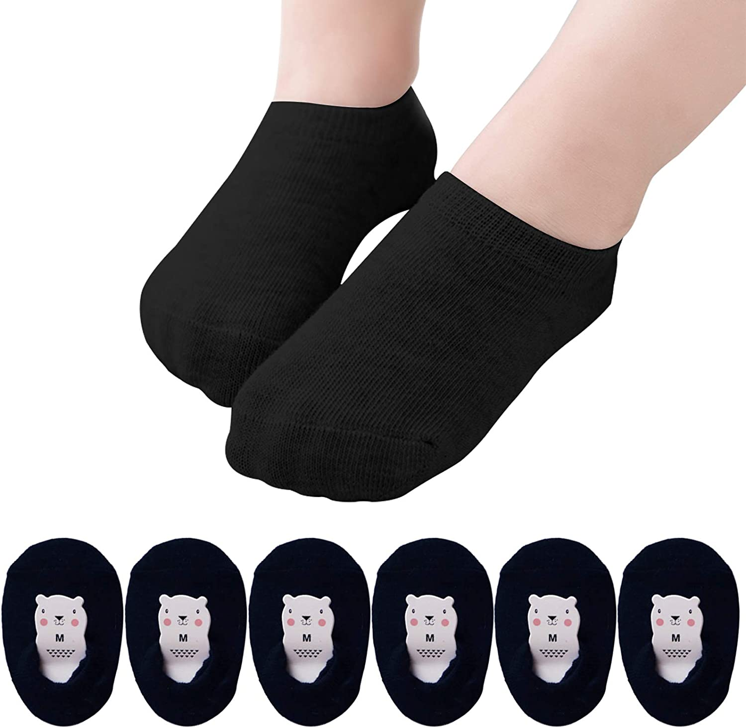 6 Pairs Baby Non Slip Cotton Socks Toddle Boys Girls Anti Skid No Show Low Cut Floor Socks for Infants Kids
