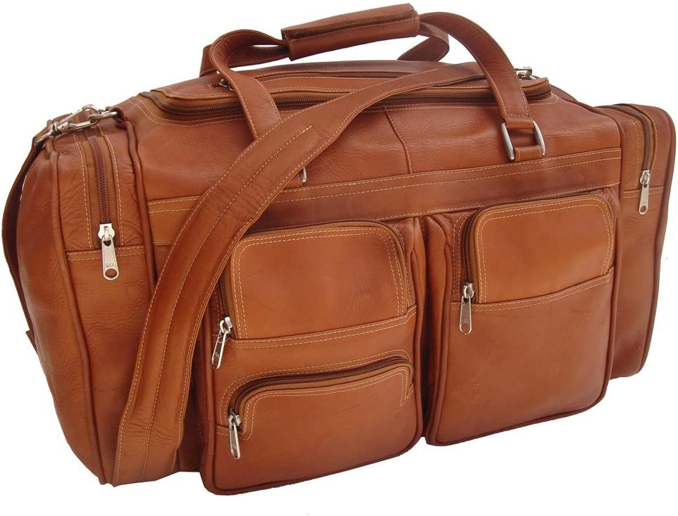 Piel Leather 20In Duffel Bag with Pockets Saddle One Size