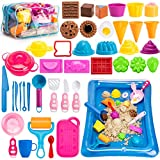 Play Sand for Kids, 3lbs Magic Sand, Food Sand Molds Tools, Kitchen Toys, Sand Tray and Storage Bag, 44PCS Sandbox Toys Set for Toddlers Kids Boys Grils