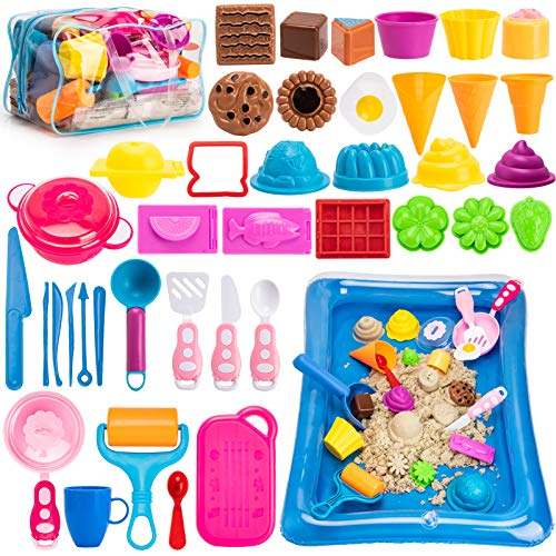 Play Sand Ice Cream Kit, 3lbs Magic Sand, Food Sand Molds Tools, Kitchen Toys, Sand Tray and Storage Bag, 44PCS Sandbox Toys Set for Toddlers Kids...
