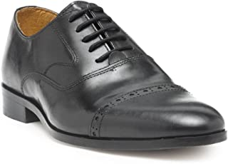 HATS OFF ACCESSORIES Black Leather Oxford Shoes for Mens