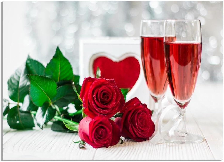 Deinebilder24 - Kunstdruck Leinwand Xxl - 80 x 120 cm - Romantisches Stillleben Champagner rote Rosan Valentinstag B01MZ0BDYL    Tragen-wider