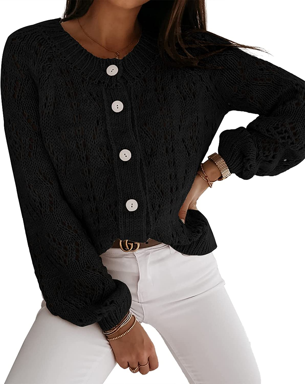 Women's Knit Cardigan Light Hollow Open Front Sweater Cute Outerwear with Button