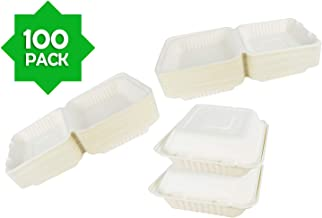 Green Earth 8-Inch, 100-Count, 1-Compartment, Compostable Clamshell, Natural Bagasse (Sugarcane Fiber), Take-Out/To-Go Food Boxes - Biodegradable Containers, Hinged Lid - Microwave-Safe - Gluten-Free