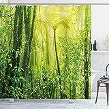 ABAKUHAUS Natur Duschvorhang, Tropischer Amazonas-Wald, mit 12 Ringe Set Wasserdicht Stielvoll Modern Farbfest & Schimmel Resistent, 175x180 cm, Hellgrün