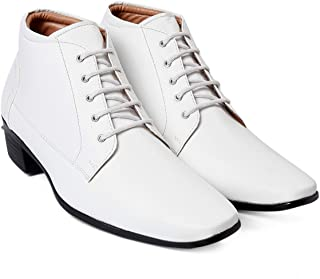 BXXY Mens White Faux Leather Height Increasing Formal Lace-Up Boots on Cuban Sole
