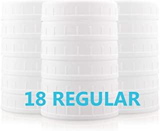 [18 Pack] Plastic REGULAR Mouth Mason Jar Lids for Ball, Kerr and More - Food Grade White Plastic Storage Caps for Mason/C...