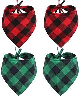 Lamphyface 4 Pcs Dog Bandana Christmas Plaid Pet Triangle Scarf Accessories Bibs