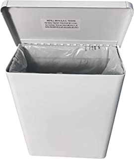 """Sanitary Napkin Receptacle, Surface Mount, Steel, Measures: 7 ½ """" w x 9 3/4 """" H x 4"""" D (White)"""