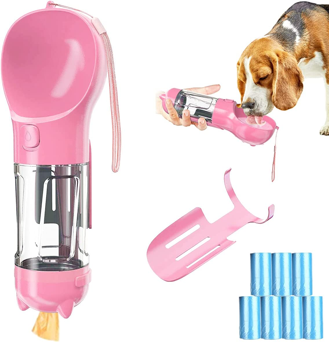 Barrageon Perro Botella Agua Portatil Bebedero Mascotas Beber 300ML Alimentador Comida Envase Banda Pala de Basura 7 Rollos x 350 Bolsas de Excremento Al Aire Libre Paseo Viaje (Rosa)