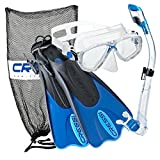 Cressi Palau Mask Fin Snorkel Set with Snorkeling Gear Bag, Blue, S/M | (Men's 4-7) (Women's 5-8)