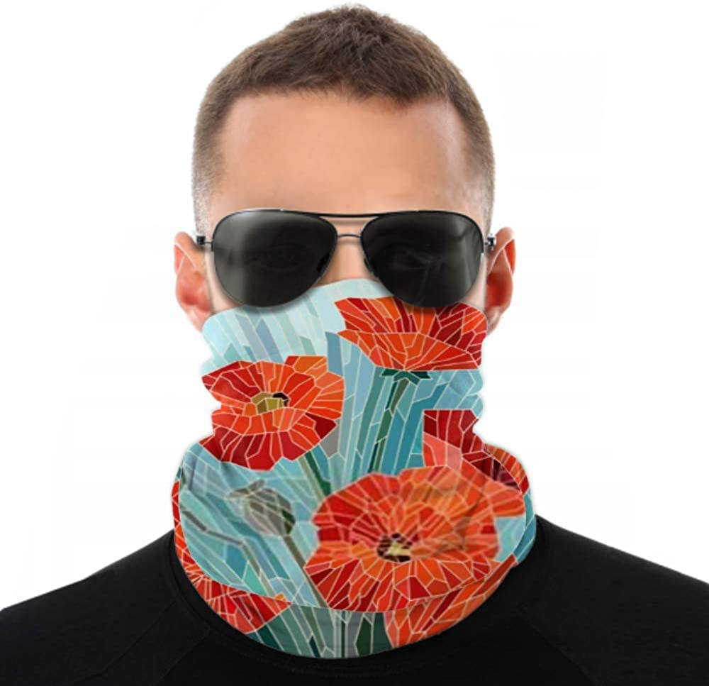 Headbands For Men Women Neck Gaiter, Face Mask, Headband, Scarf Color Stained Glass Large Flowers Poppies Turban Multi Scarf Double Sided Print Turban Headband For Sport Outdoor