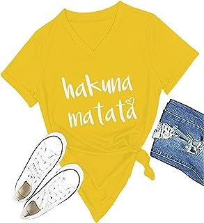 4a20295d3fb3bb Women s Hakuna Matata T-Shirt Cute Letter Print Short Sleeve Tee Top Funny  Graphic T