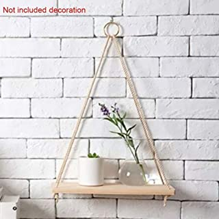 Garden Ornaments Wooden Plant Hanger Indoor Hanging Planter Basket Holder with String, Farmhouse Hanging Shelves for Livin...